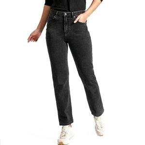New DUER High Rise Straight Performance Denim Jeans 28 Black